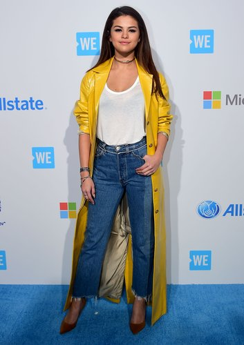 Selena Gomez arrives on the carpet for WE Day in California on April 7, 2016 in Los Angeles