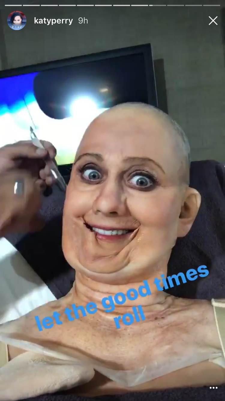 Katy Perry transforms into Hillary Clinton for Halloween 2016