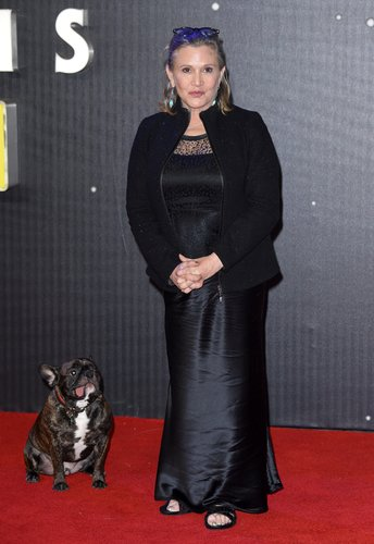 Carrie Fisher attends the European Premiere of 'Star Wars: The Force Awakens' at Leicester Square on December 16, 2015 in London
