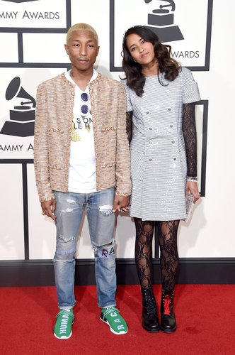 Pharrell Williams and Helen Lasichanh attend The 58th GRAMMY Awards at Staples Center on February 15, 2016 in Los Angeles