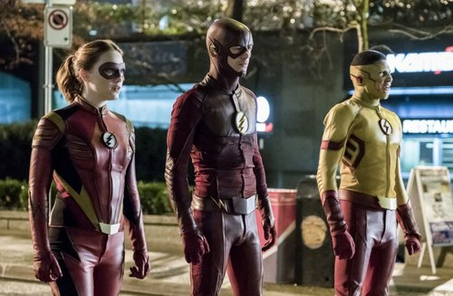 Violett Beane as Jesse Quick, Grant Gustin as The Flash and Keiynan Lonsdale as Kid Flash in 'The Flash' Season 3, Episode 14 -- 'Attack on Central City'