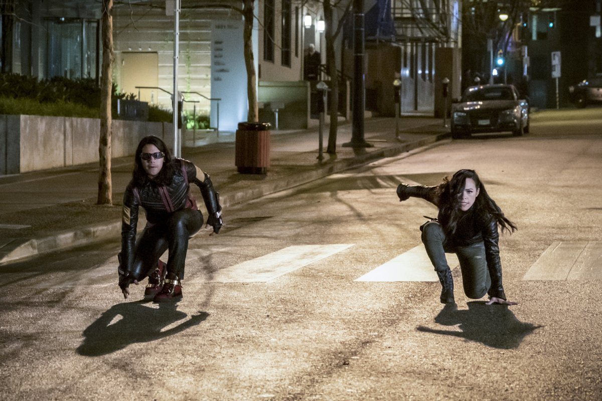 Carlos Valdes as Cisco Ramon/Vibe and Jessica Camacho as Gypsy in 'The Flash' Season 3, Episode 14 -- 'Attack on Central City'