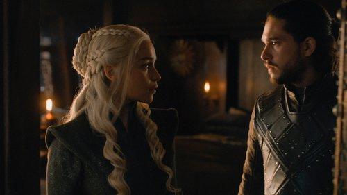 Daenerys Targaryen (Emilia Clarke) and Jon Snow (Kit Harington) exchange a look in the 'Game of Thrones' Season 7 finale