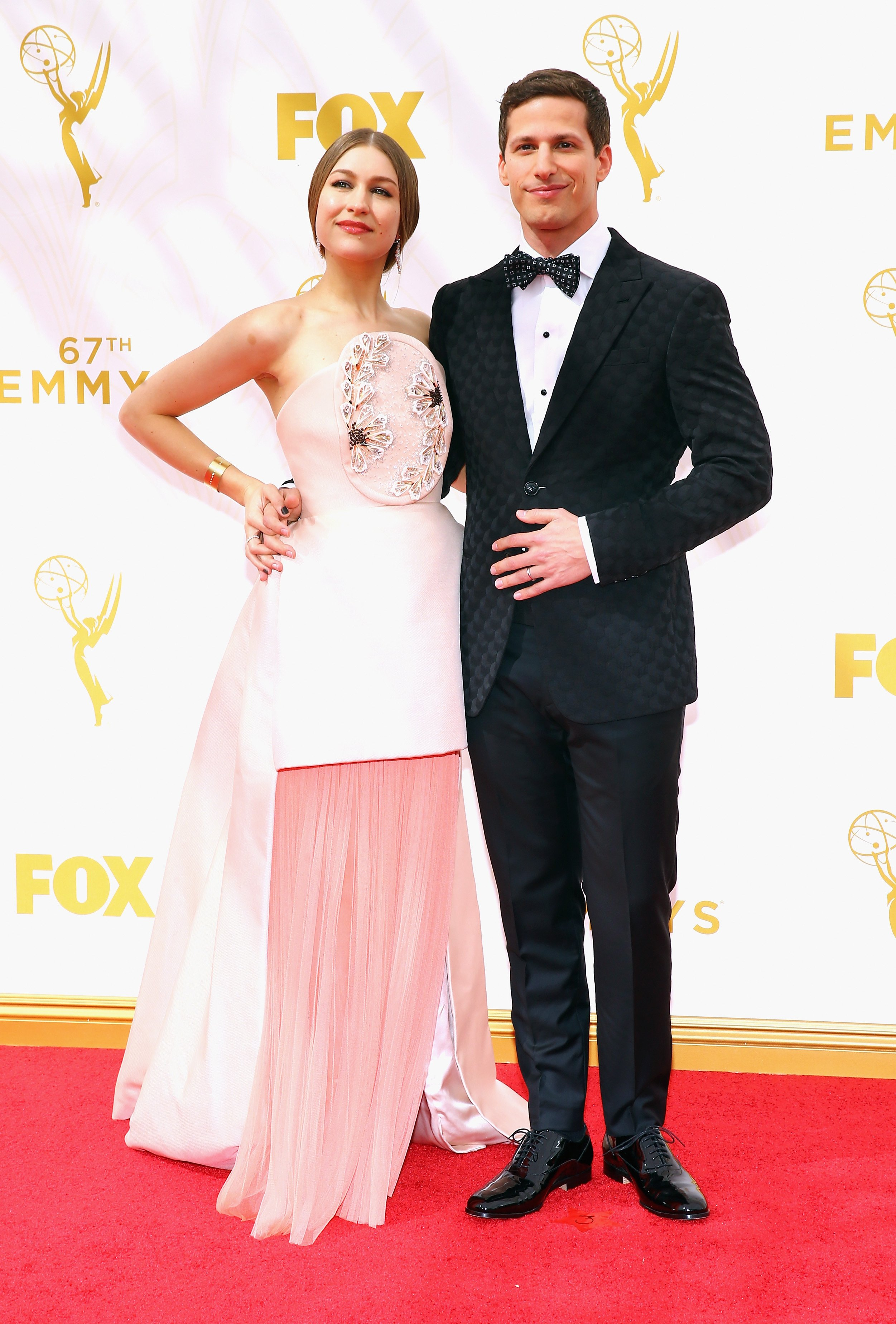 Joanna Newsom and host Andy Samberg attend the 67th Annual Primetime Emmy Awards at Microsoft Theater on September 20, 2015 in Los Angeles