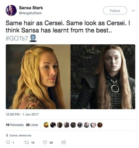 It's been pretty well-documented that the costume and makeup team on Game of Thrones uses hair in symbolic ways throughout the series.