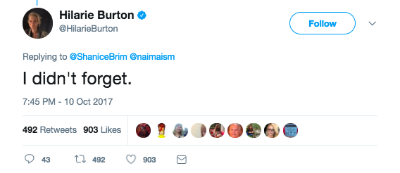"""Burton, who was a TRL VJ at the time and later starred on One Tree Hill, responded on Twitter, saying, """"I didn't forget."""""""