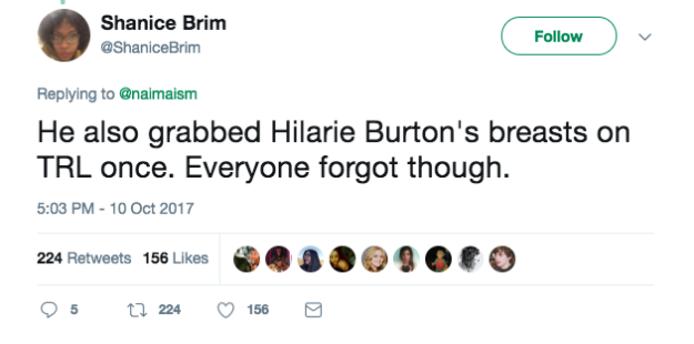 """It also started a conversation about Affleck's general treatment of women. Twitter user @ShaniceBrim tweeted that Affleck """"grabbed Hilarie Burton's breasts on TRL once. Everyone forgot though."""""""