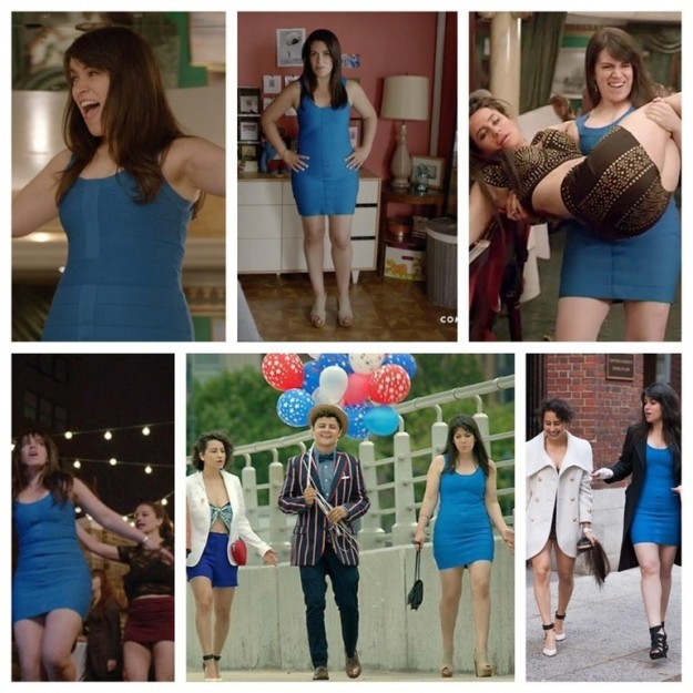 On an episode of Broad City, Abbi spends more than she can afford on a dress, so she gets her money's worth by wearing it to every nice occasion from that point forward.