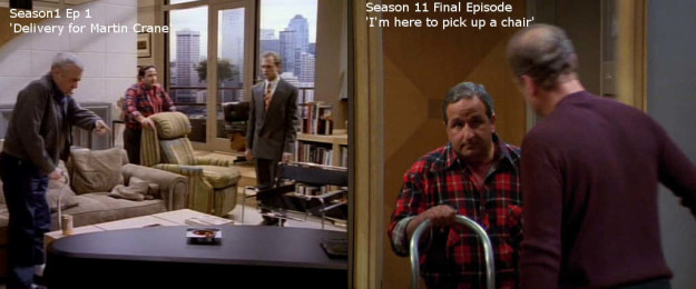 And on Frasier, the man who delivers Martin's chair in the first episode is the same guy to pick up the chair in the finale episode.