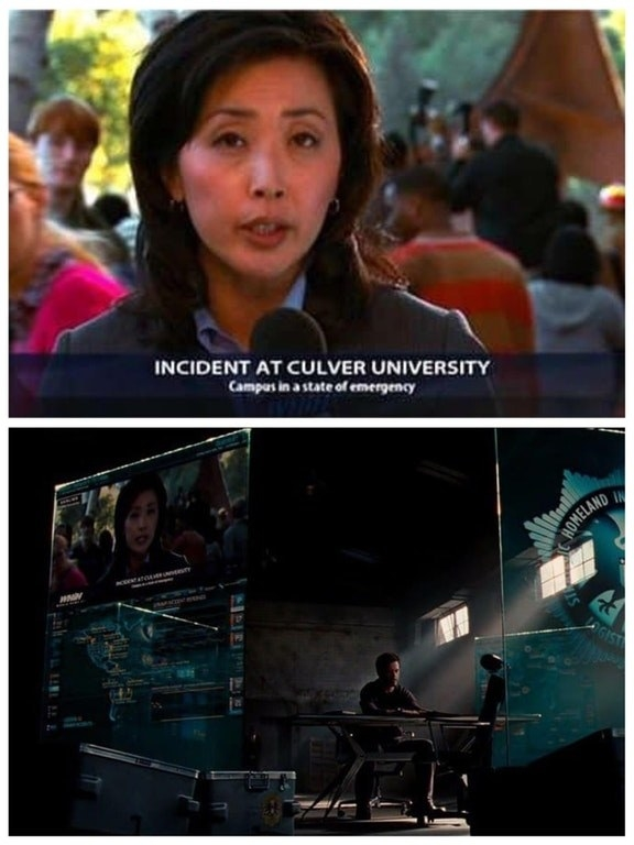 This news report from The Incredible Hulk appears on one of Tony Stark's screens in Iron Man 2.
