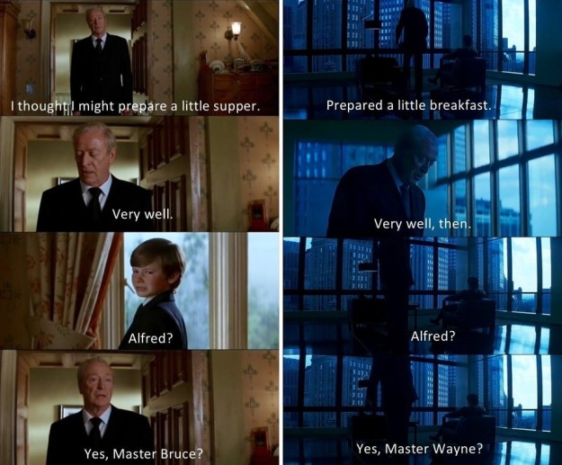 These two scenes of Alfred approaching a mourning Bruce Wayne in Batman Begins and The Dark Knight, respectively, mirror one another. In both scenes, Bruce blames himself, and in both scenes Alfred comforts him.