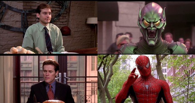 In Spider-Man, when Peter goes to the Osborn's for Thanksgiving dinner, Peter and Norman are wearing each other's alter-ego's colors.