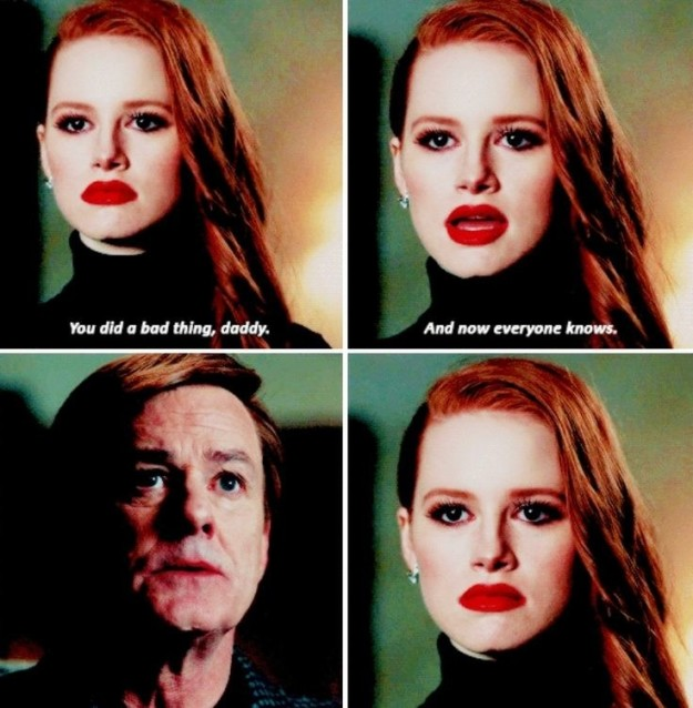 When Cheryl confronted her dad about killing her brother. (try reading that sentence to someone who doesn't know the show)