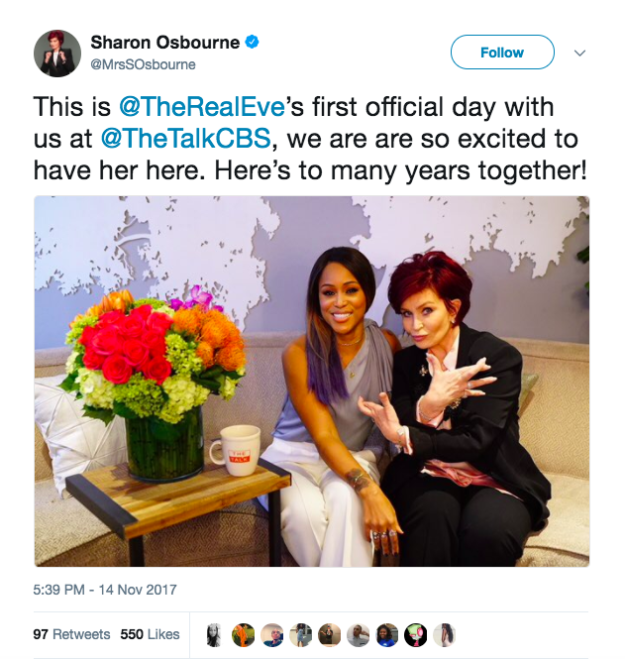 Earlier this week, Osbourne sent out a tweet expressing her excitement to work with Eve, but some people weren't really feeling the pic, mainly because of Osbourne's pose.