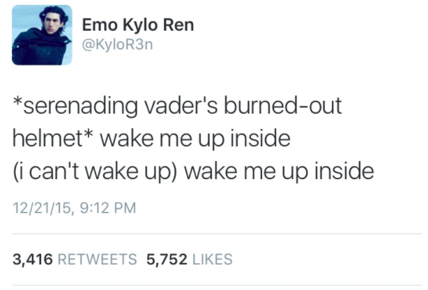 "Like, Eminem probably wrote his song ""Stan"" about Kylo's feelings towards Vader, TBH."