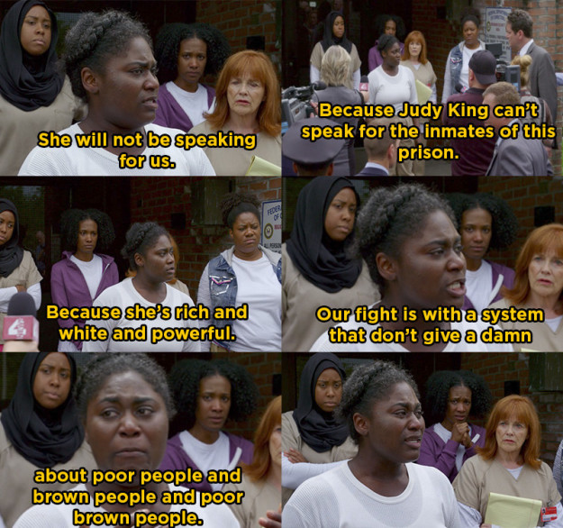 When Taystee spoke up for the inmates in hopes of bringing about change on Orange Is the New Black.