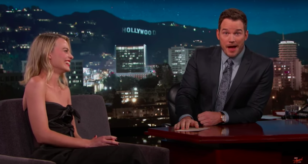 Chris Pratt acted as a guest host for the episode (Kimmel's young son is recovering from surgery) and got Robbie to dish on her upbringing in Australia, her affinity for beer, and the fact that she's never *gasp* eaten at an Outback Steakhouse.