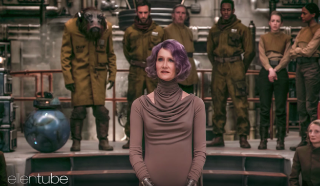 Vice Admiral Holdo wears the outfit she does (instead of a uniform) as a sign of her devotion to her home planet, Gatalenta — which is known for its independent spirit.