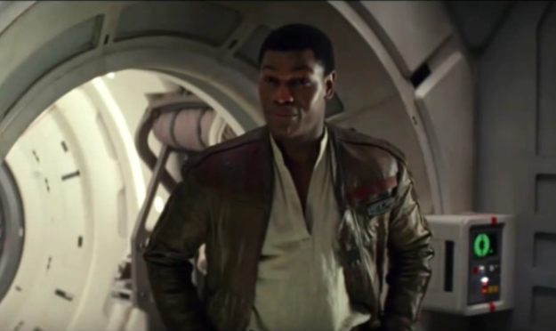 While Finn was in recovery, Poe stitched up the tear on the right-hand shoulder of his jacket (which was cut by Kylo's lightsaber in Force Awakens).