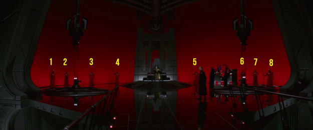 Snoke had eight Praetorian guards — specifically, four sets of pairs, with each pair trained to use the same weapons.