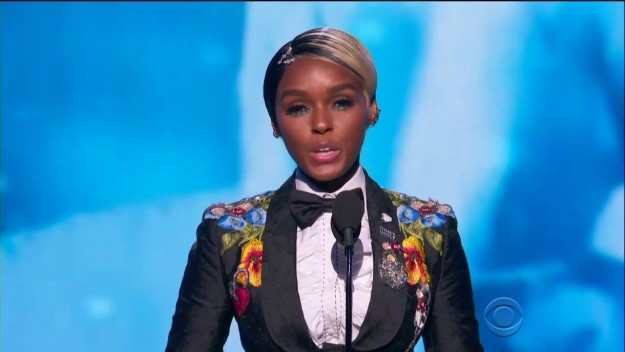 """""""Tonight, I am proud to stand in solidarity, as not just an artist, but a young woman, with my fellow sisters in this room who make up the music industry,"""" Monáe said."""