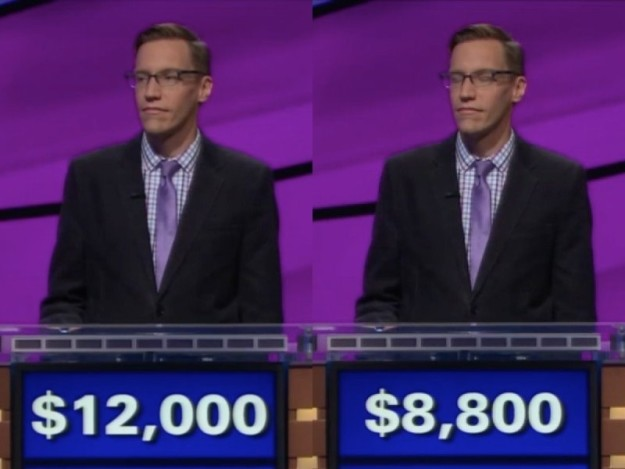 Initially, his response was accepted as correct, but a few minutes later, Alex Trebek laid down the hammer of justice: Spicher's mistake cost him $3,200.
