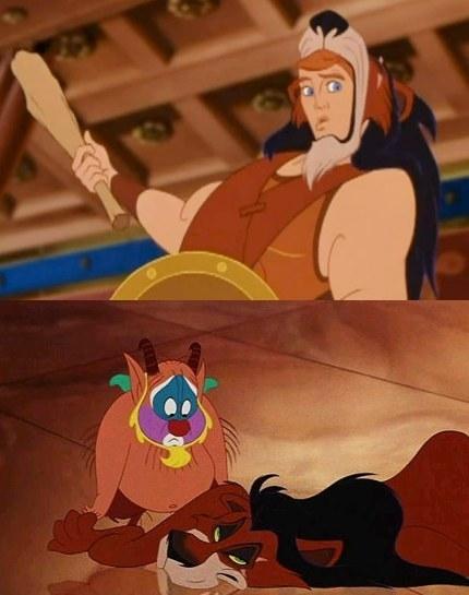 In Hercules, Phil and Hercules use Scar's pelt when training.