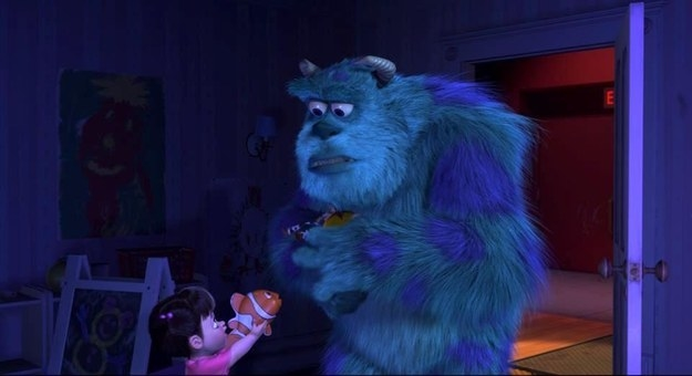 In Monsters, Inc., Boo hands Sulley a stuffed Nemo toy when they're in her room.