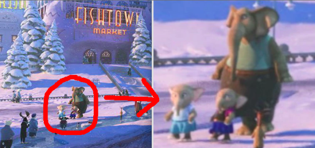 In Zootopia, you can clearly see two sibling elephants in Tundra Town who are dressed as Elsa and Anna from Frozen.