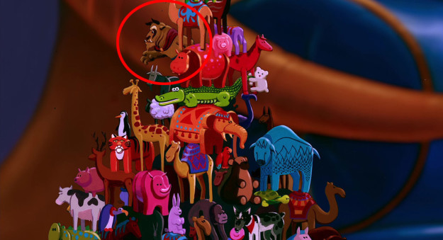 In Aladdin, the Beast makes a cameo in a scene when the Sultan stacks toys.