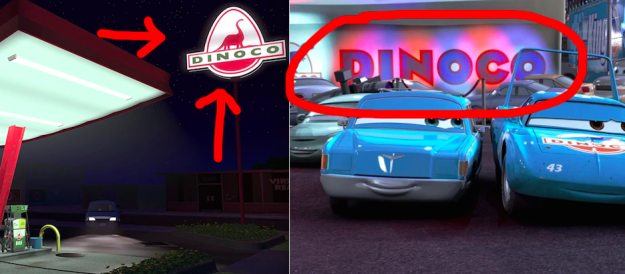In Toy Story, Buzz and Woody stop at a Dinoco gas station, which is the brand that Lightning McQueen tries to get sponsored by in Cars.