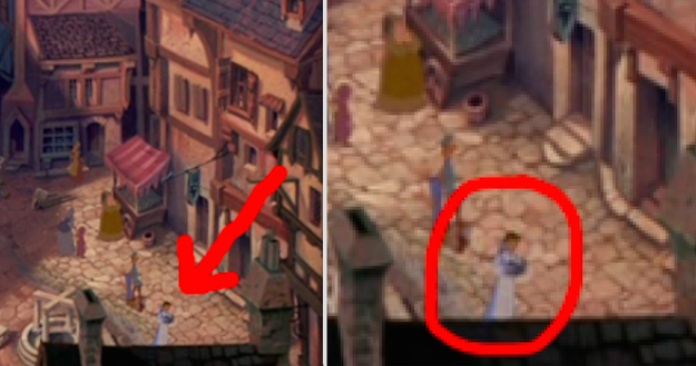 In The Hunchback of Notre Dame, Belle can be seen as she walks and reads through the village.