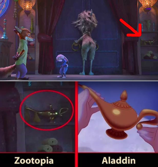 In Zootopia, the Genie's lamp is visible behind Yax the Yak at the Naturalist Club.