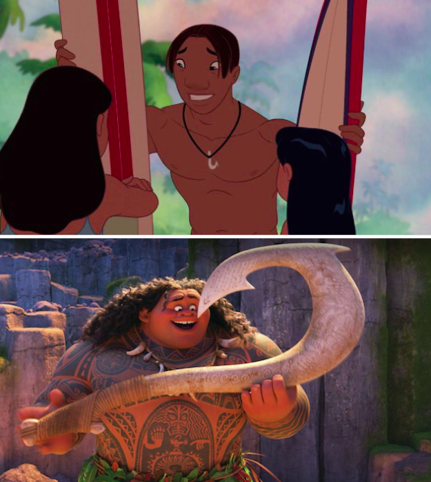 In Lilo & Stitch, David's necklace is identical to Maui's magical fishhook from Moana.