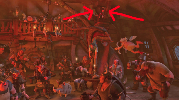 In Tangled, you can spot Pinocchio hanging up in the Snuggly Duckling tavern.