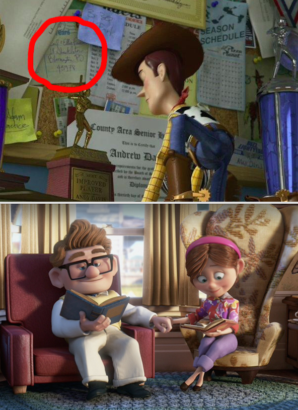 In Toy Story 3, Andy has a postcard from Carl and Ellie that's pinned to the board in his room.