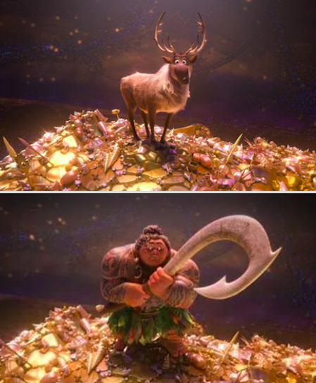 In Moana, Maui quickly transforms into Sven from Frozen.