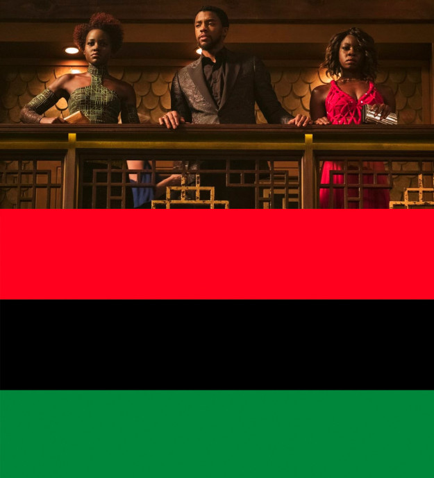 When T'Challa, Okoye, and Nakia are in the casino, they're wearing red, black, and green — i.e. the colors of the Pan-African flag.