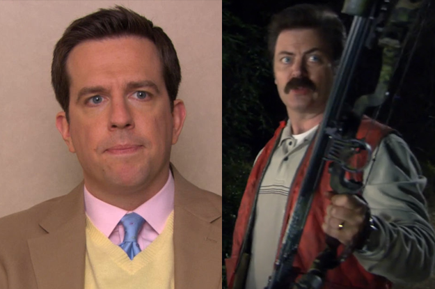 Andy Bernard would be intimidated by Ron's old-school manliness. He would ask to go hunting with Ron to impress him, but then would throw up when Ron shot a deer.