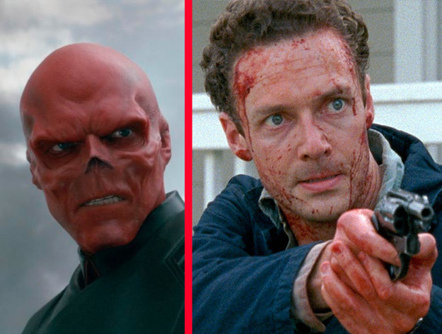 Red Skull was played by Ross Marquand, who also plays Aaron on The Walking Dead.