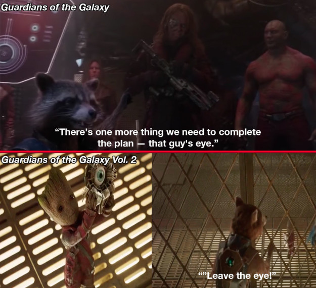 Rocket also has a thing for eyes. He mentions taking eyes in both Guardians of the Galaxy movies, and he gives an eye to Thor in Avengers: Infinity War.