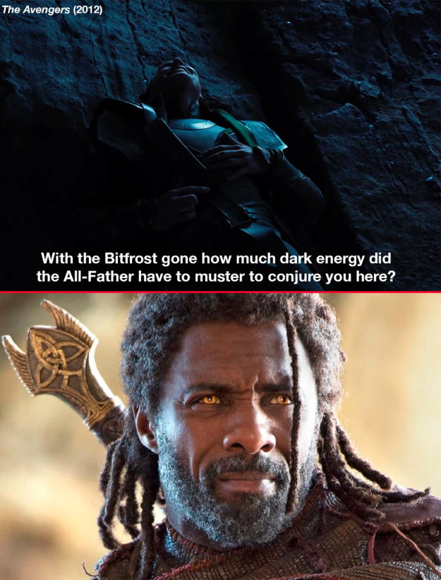 """Before sending Hulk back to Earth in Avengers: Infinity War, Heimdall says, """"All-Father, let the dark magic flow through me one last time."""" This is a reference to what Loki says to Thor when he arrived on earth in the first Avengers movie."""