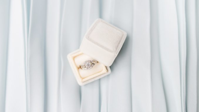 Engagement ring in box sitting on white background